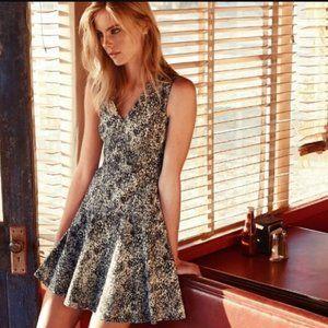 Rebecca Taylor Printed Jacquard Fit & Flare Dress